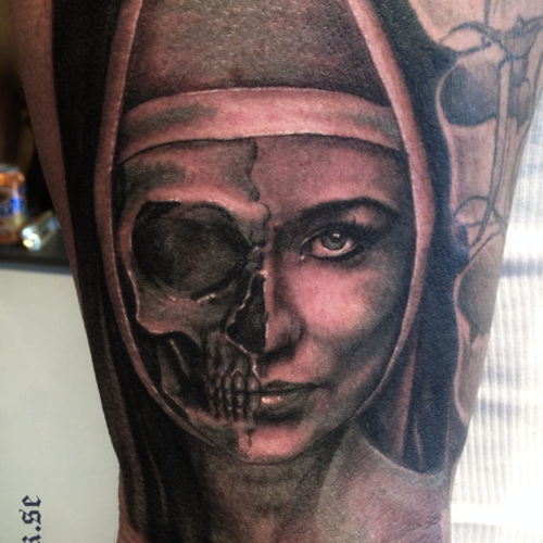 Carper Ink Nun Skull Portrait Tattoo