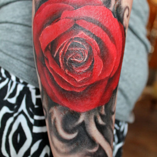 Carper Ink Red Rose Tattoo