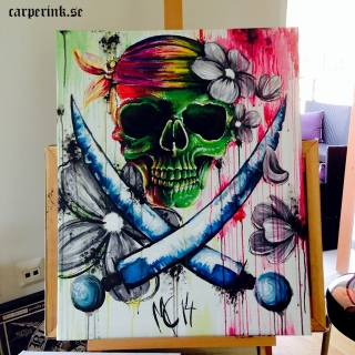 Carper Ink Color Skull Painting