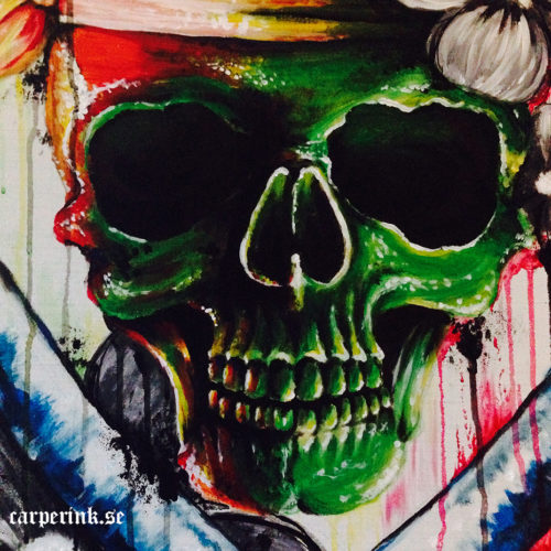 Carper Ink Color Skull Painting Close Up