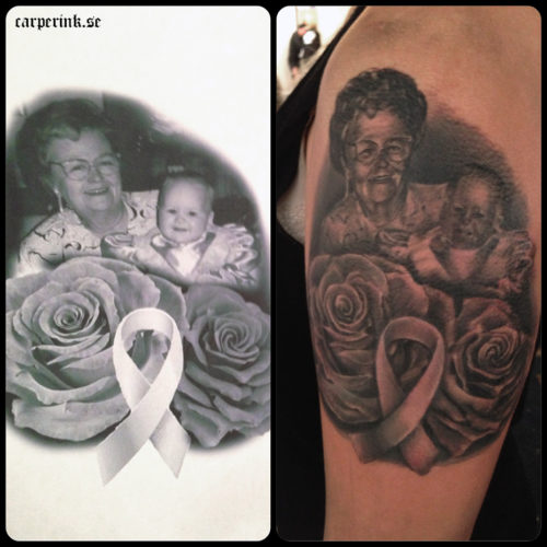 Carper Ink Double Portrait Roses Pink Ribbin Tattoo