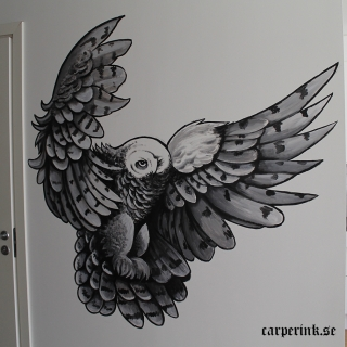 Carper Ink Owl Wallpainting Kvelertak