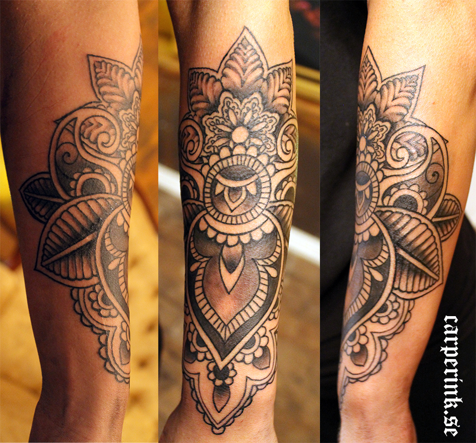 carper ink mandala arm tattoo. Black Bedroom Furniture Sets. Home Design Ideas