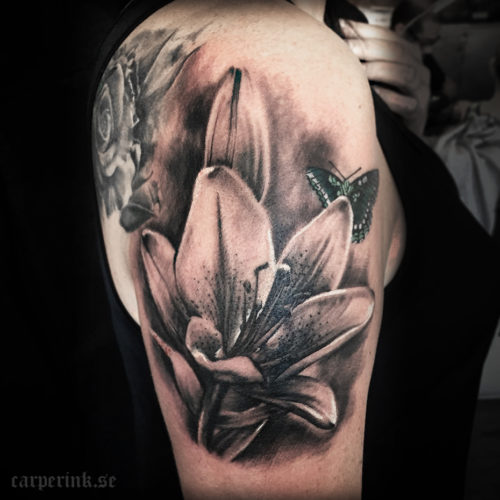 Carper Ink Lilly Butterfly Tattoo