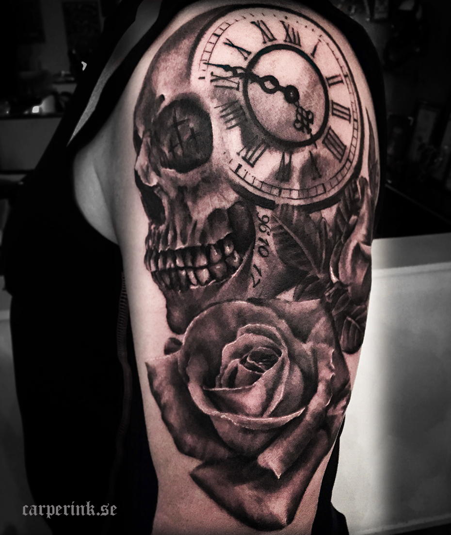 Skull Rose Clock Tattoo Carper Ink Tattoo Tatuerare Malin Carper