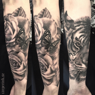 Carper Ink Tiger Roses Butterfly Tattoo