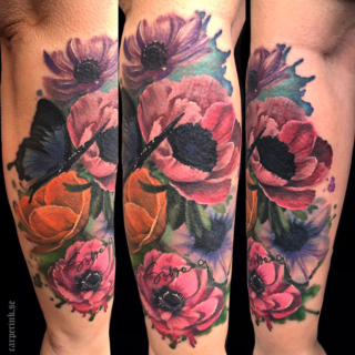 Carper Ink Big Colorsplash Flowers Butterfly Tattoo