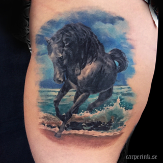 Carper Ink Black Horse Waves Tattoo