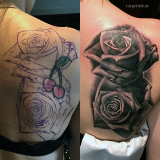 Carper Ink Cover Up Cherry Roses Tattoo