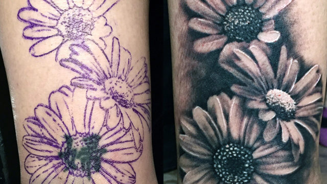Carper Ink Cover Up Daisy Tattoo