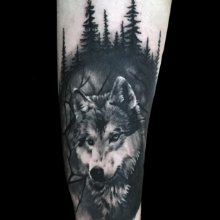Carper Ink Wolf Forest Black and Grey Tattoo