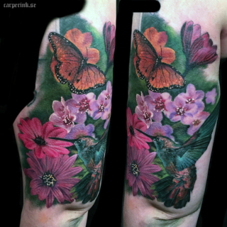 Carper Ink Colorful Flowers and More Tattoo