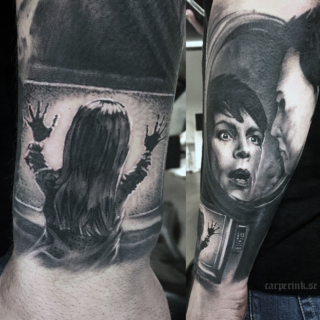 Carper Ink Horror Movie Sleeve Poltergeist Halloween Tattoo