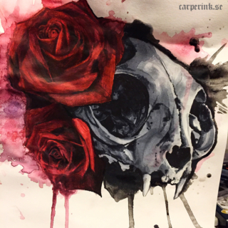 Carper Ink Watercolor Painting Skull Roses