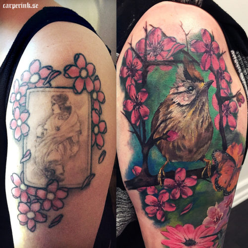 Carper Ink Bird Color Cover Up Tattoo