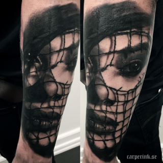 Carper Ink Girl face With Net Tattoo