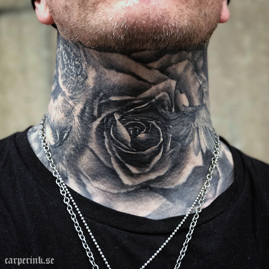 Carper Ink Healed Neck Rose Tattoo