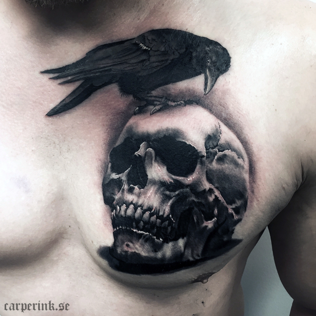 Carper Ink Raven Skull Tattoo