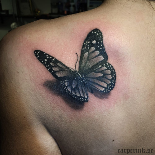 Carper Ink Simple Butterfly 3D Tattoo