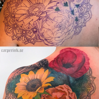 Carper Ink Cover Up Color Flowers Mandala Tattoo