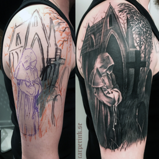 Carper Ink Cover Up Monk and Graveyard Tattoo