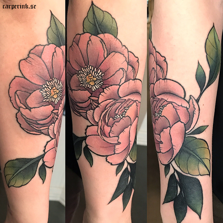 Carper Ink Dusty Pink Peonies Cover Up Tattoo