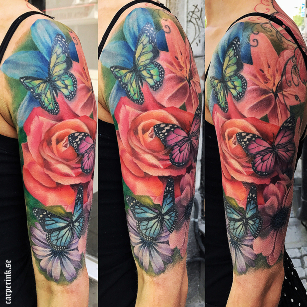Carper Ink Realistic Flowers and Butterflies Tattoo